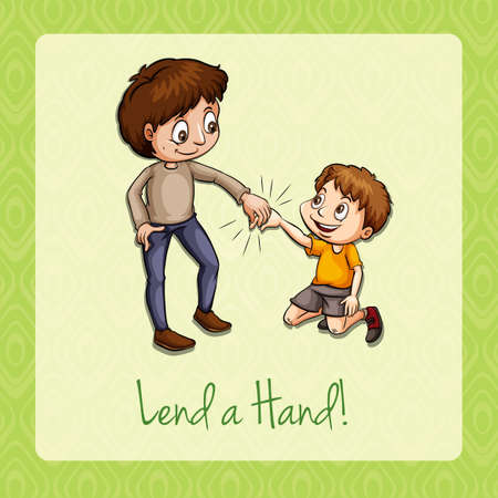 lend a hand: Old saying lend a hand illustration Illustration
