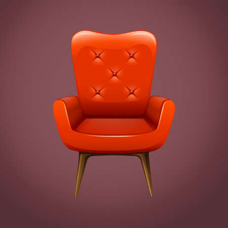 armchair: Red armchair with wooden legs illustration