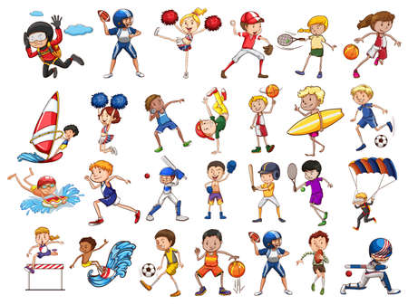cheer leader: People practicing different sports illustration Vectores