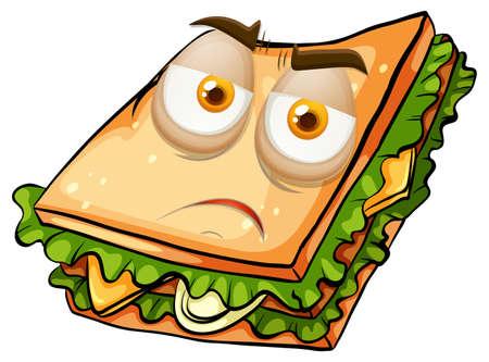 sandwich white background: Sad face on sandwich illustration