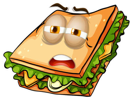 eyes close up: Sandwich with lazy face  illustration Illustration