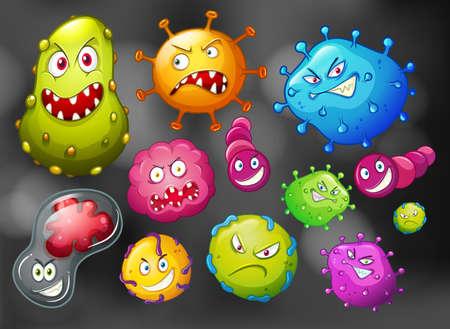 Batteri e germi su sfondo nero illustrazione
