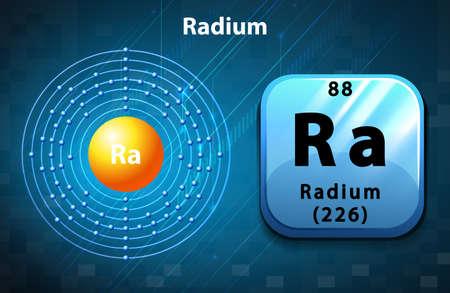 radium: Flashcard of Radium atom illustration Illustration
