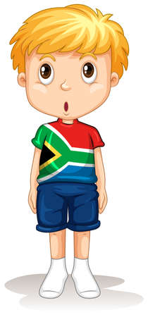 south african flag: South African boy standing straight illustration