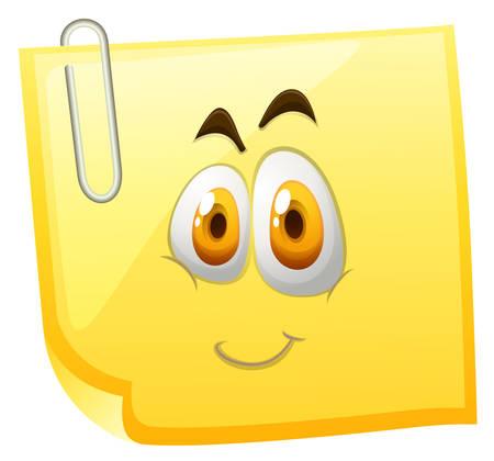 carita feliz: Nota pegajosa amarilla con la cara feliz ilustración Vectores