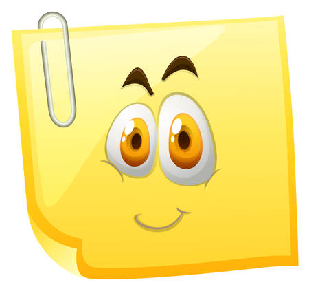 sticky note: Yellow sticky note with happy face  illustration