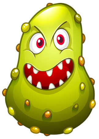 bacteria: Bacteria with monster face illustration Illustration