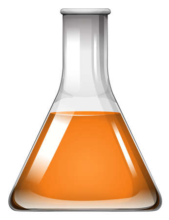 science lab: Orange liquid in glass beaker illustration