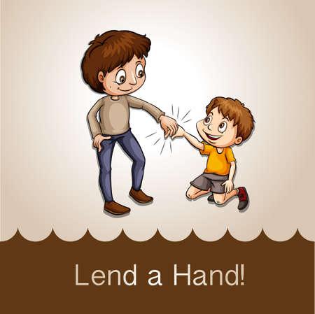 wordings: Man holding a boys hand illustration Illustration