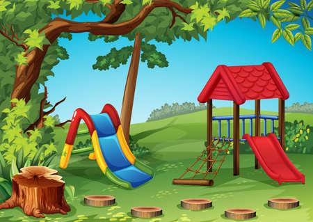 dětské hřiště: Dětské hřiště v parku obrázku Ilustrace