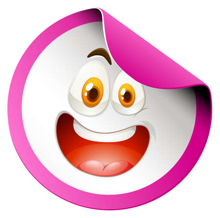 carita feliz: Cara feliz en la ilustración insignia redonda