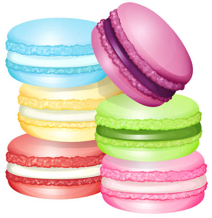 flavors: Macaron in different flavors illustration