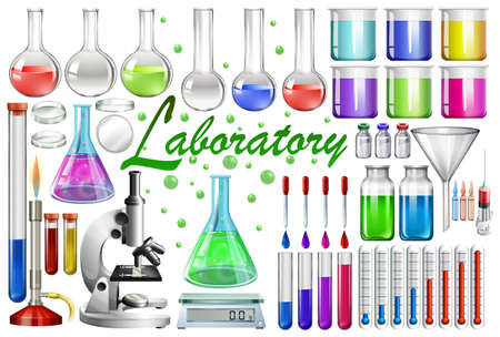 Laboratory tools and equipments illustration Çizim