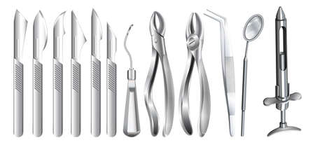 surgical operation: Surgery equipment on white illustration