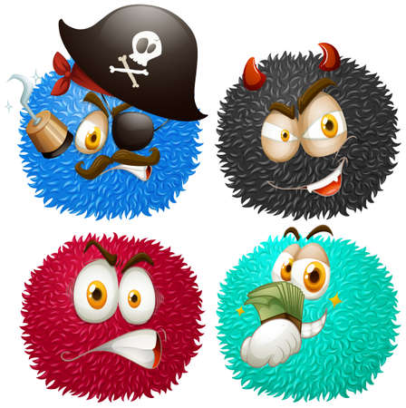 Set of fluffy balls with emoticons illustration