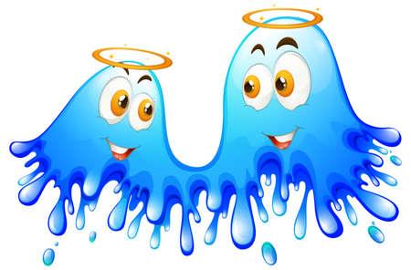 colour image: Bluse splash with blessful faces illustration Illustration