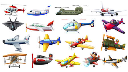 Different kind of aircrafts illustration