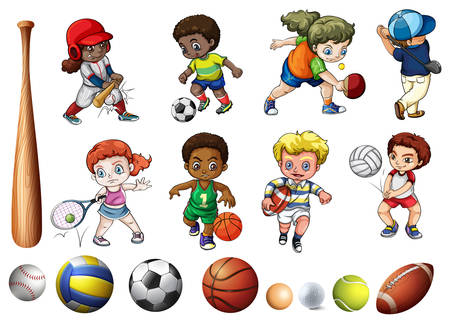 Children playing ball related sports illustration