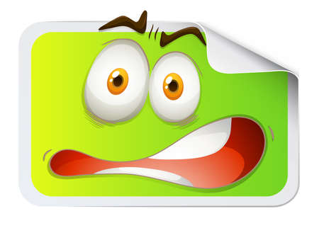 funn: Rectangular sticker with scared face illustration