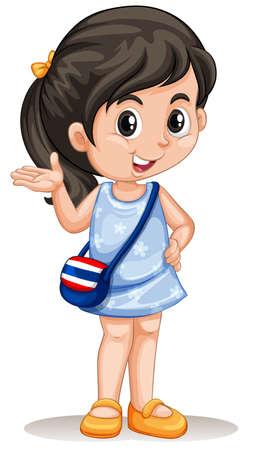 greeting: Thai girl greeting and smiling illustration Illustration
