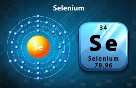 electron shell: Flashcard of selenium atom illustration