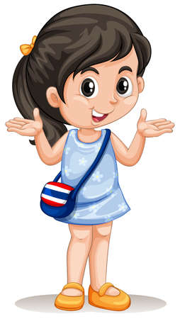 young girl: Little asian girl with handbag illustration