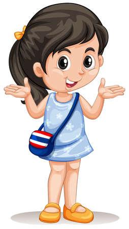 ni�as peque�as: Peque�a muchacha asi�tica con la ilustraci�n del bolso