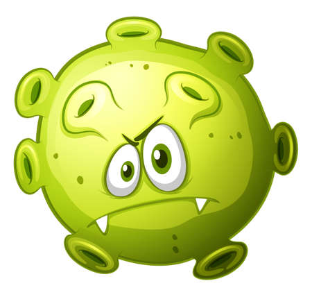 eyes looking up: Green bacteria with evil face illustration Illustration
