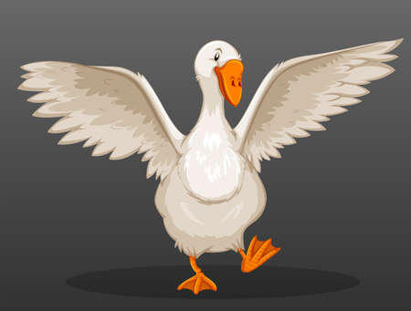 Goose spreading its wings illustration Illustration