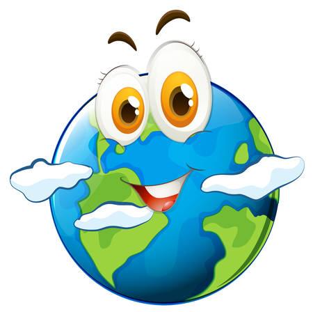 planeta tierra feliz: Planeta azul con la cara feliz ilustración