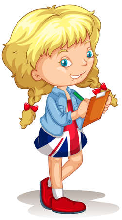 foreigner: Little girl writing on file illustration Illustration