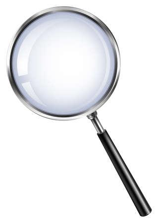 vidrio: Lupa en la ilustración blanca Vectores
