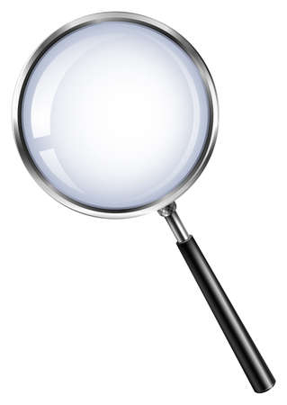 Magnifying glass on white illustration