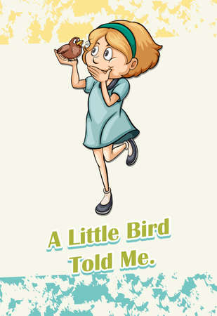 Girl holding a speaking bird illustration Illustration
