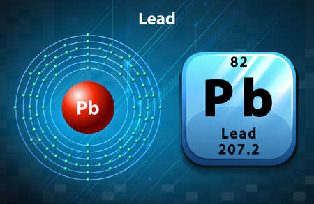 lead: Symbol and electron diagram of Lead illustration