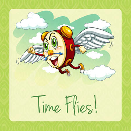 time flies: Old idiom time flies illustration