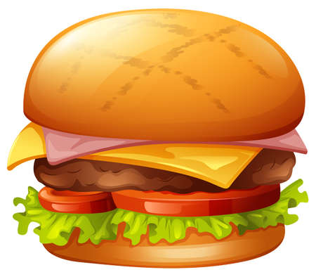 cheese burger: Meat burger on white illustration Illustration