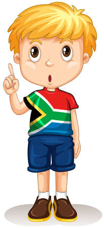 african boy: African boy pointing up illustration