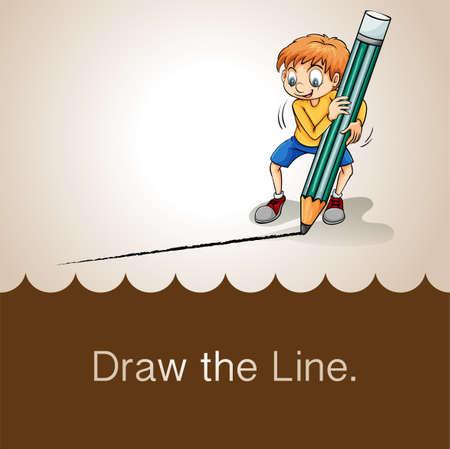 figurative art: Old saying draw the line illustration Illustration