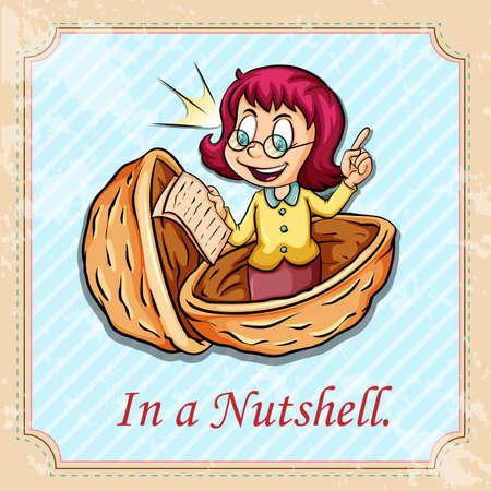 nutshell: Idiom in a nutshell illustration Illustration