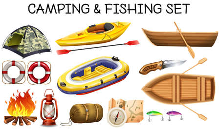 fishing boats: Camping and fishing equipments illustration