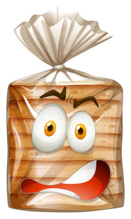 shocking face: Loaf of bread in bag illustration Illustration