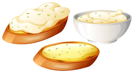 white bread: Toasted bread topping with cream illustration