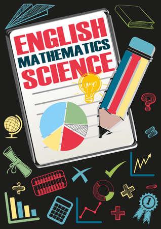 School subjects and symbols illustration