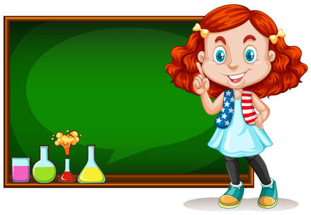 children art: Girl standing by the blackboard illustration