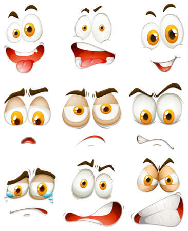 feeling exhausted: Many type of facial expressions illustration