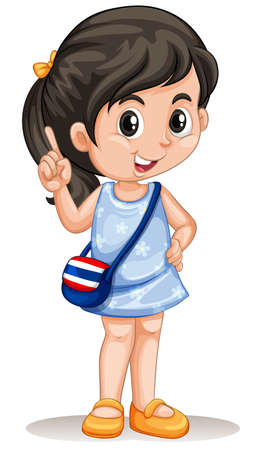 child smiling: Thai girl with handbag illustration