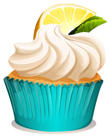 whipped cream: Cupcake with cream and lemon illustration