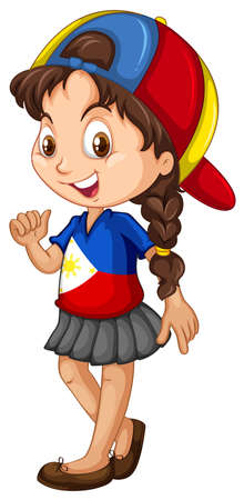 philippines: Philippines girl wearing a cap illustration