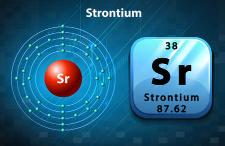 electron: Symbol and electron diagram for Strontium illustration